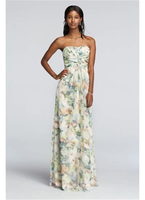 Strapless Chiffon Floral Print Dress With Pleating