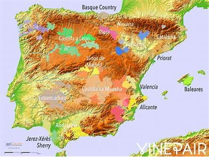 Map Wine Relief Regions Maps Spain Animated