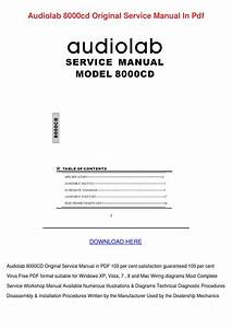 Audiolab 8000cd Original Service Manual In Pd By
