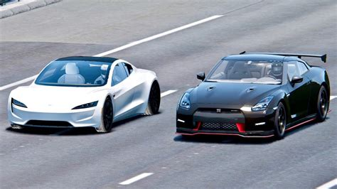 tesla roadster  nissan gt  nismo drag race youtube