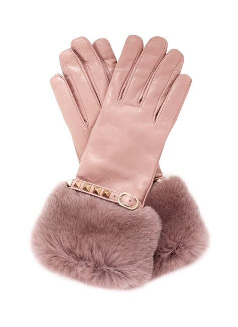 lyst valentino rabbit fur trimmed cuff rockstud leather