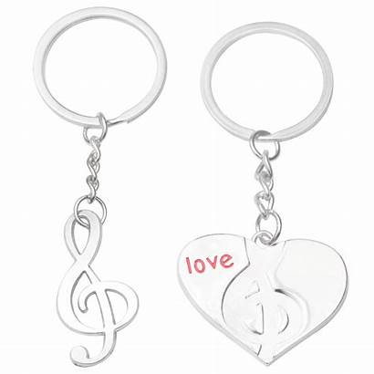 Key Heart Ring Pair Keychains Shape Note