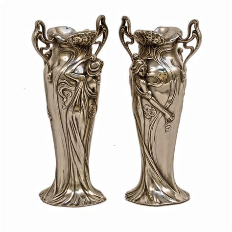 antique silver nouveau figurine vases deco