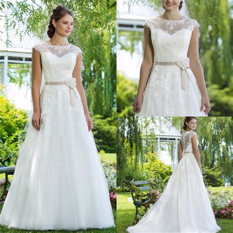 beautiful a line garden wedding dress 2015 summer style