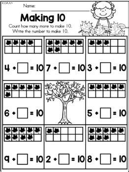 autumn kindergarten math worksheets  united teaching tpt