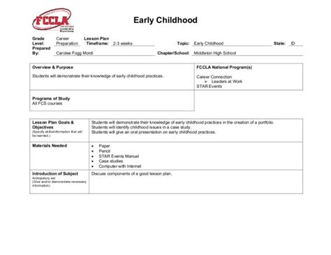 Early Childhood Lesson Plan For 11th