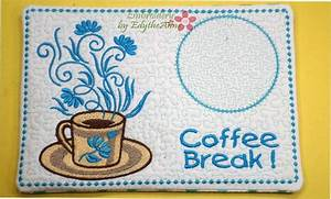 COFFEE BREAK Machine Embroidered Mug MatMug Rug 2 Sizes