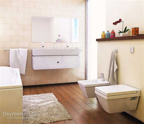 modern and practical beige bathroom with white rug