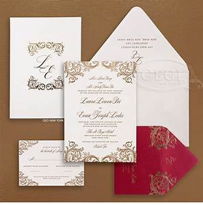 10 breathtaking red and gold wedding invitations to With big w wedding invitations