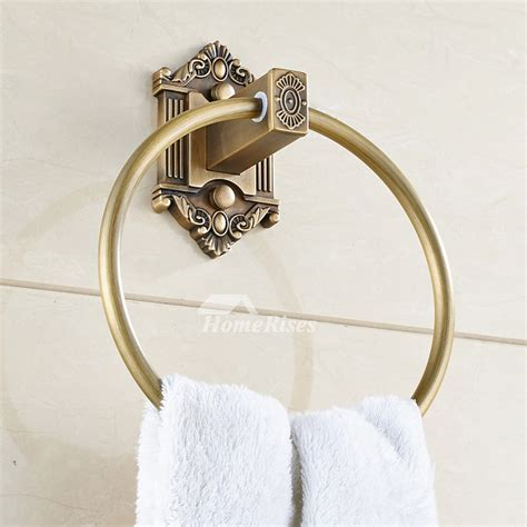 Rustic Antique Brass Round Shaped Ring Towel Holder