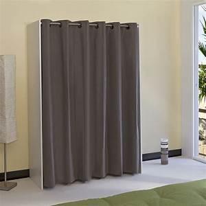 Armoire Avec Rideau : armoire dressing extensible 1 colonne avec rideau ~ Melissatoandfro.com Idées de Décoration