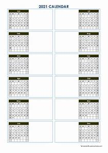 2021 Blank Yearly Calendar Template Vertical Design Free