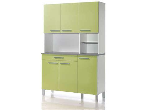 buffet de cuisine 120 cm debora coloris blanc vert acide