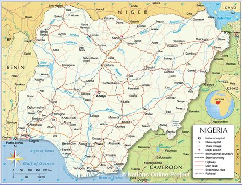 political map  nigeria nations  project