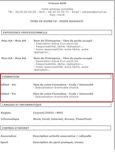 Comment Faire Un Bon Cv by Comment Faire Un Bon Curriculum Vitae 9 233