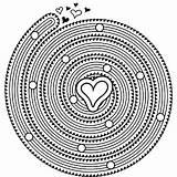 Coloring Spiral Mandala Printable Heart M100 Hearts Unique sketch template