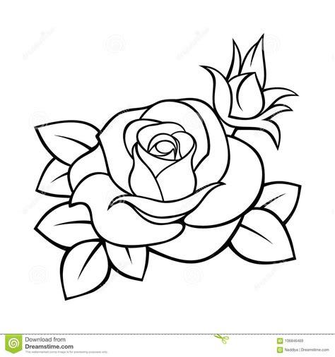 Rosa Desenho Preto E Branco Do Contorno Do Vetor