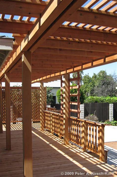 redwood deck  concrete patio  arbor encino