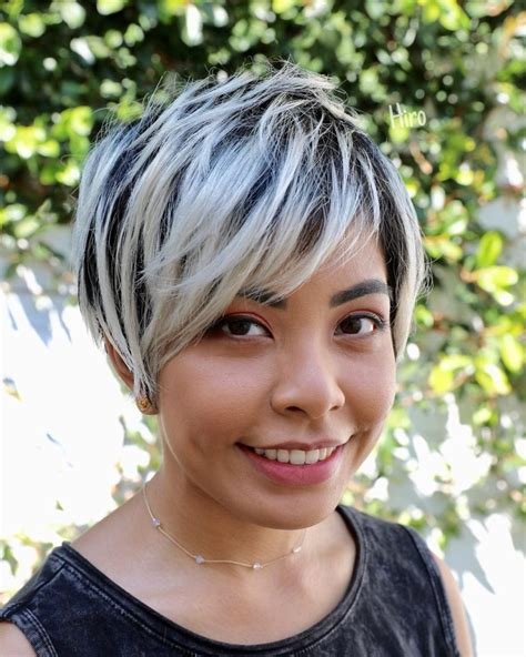 womens textured long layered pixie  asymmetrical side