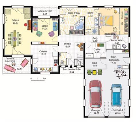 plans maisons plain pied 3 chambres plan maison en l avec garage pour 2 voitures plans maisons