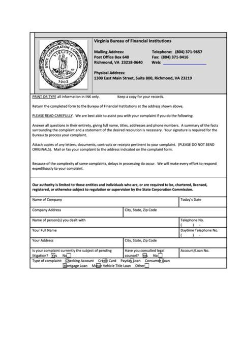 virginia post office complaint form printable