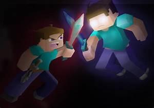 Steve VS Herobrine   Minecraft   Pinterest