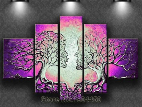 shipping hand painted modern purple abstract kiss
