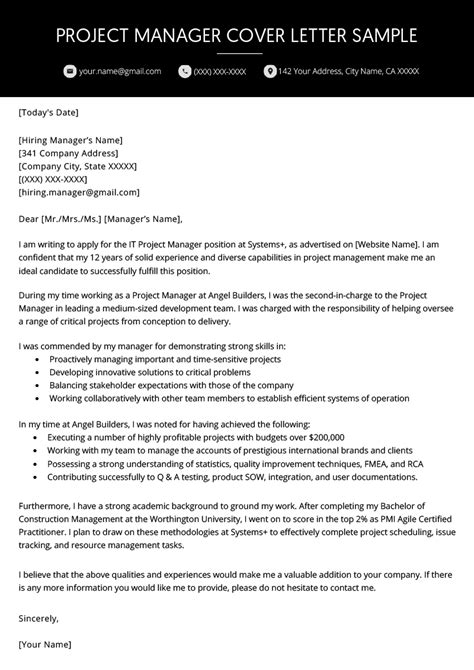 Cover Letter For Project Manager Application by Project Manager Cover Letter Exle Resume Genius