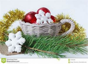 Christmas, Decorations, And, Two, Pines, Twig, Isolated, On, A, White, Background, Stock, Photo