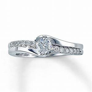 Jared diamond engagement ring 1 2 ct tw round cut 14k for Jareds jewelry wedding rings