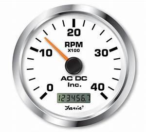 Faria Tachometer With Hourmeter 4000 Rpm Marine Gauge Ac