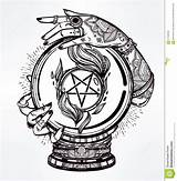 Pages Coloring Pentacle Pentagram Template Crystal Magic Ball Hand Occult Hands Psychic Sketch Illustration Adult Dragon Vector Drawn Reversed Joker sketch template