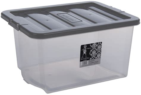 Wham Fusion Plastic Storage Box Boxes Clear Container Grey
