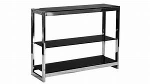 Bureau Verre Trempé Noir : etag re 3 plateaux en inox et verre tremp teint noir meuble moderne pas cher ~ Melissatoandfro.com Idées de Décoration