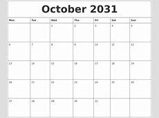 October 2031 Free Calendar Printables
