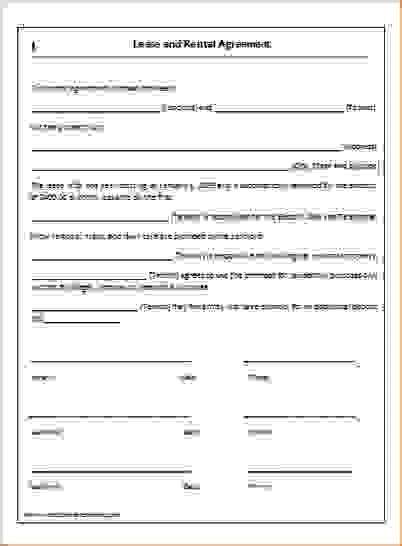 simple  page lease agreement template rental