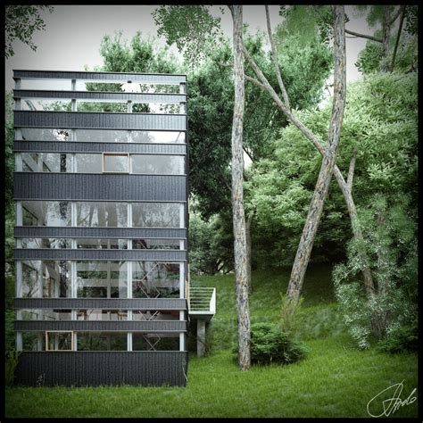 glass forest house japanese house in the forest visualized Glass Forest House