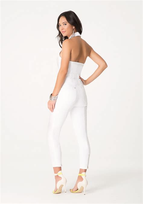 white denim jumpsuit white jean jumpsuit trendy clothes