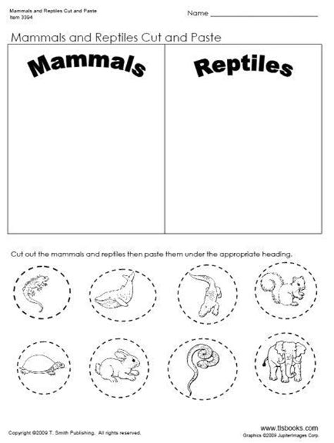 day 32 mammal and reptiles cut and paste worksheet unit