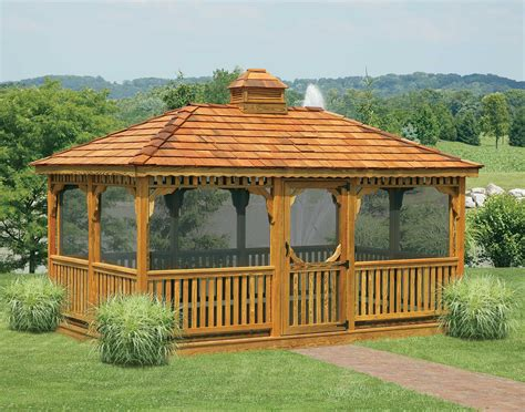 Gazebo : In Vogue Single Roof Rectangle Enclosed Gazebo With Wooden