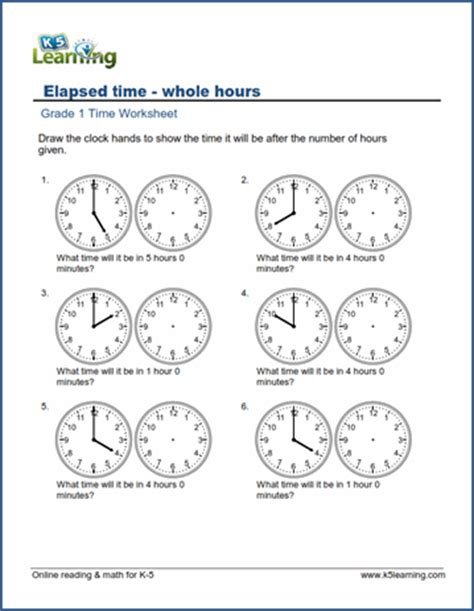 elapsed time worksheets  time      hours