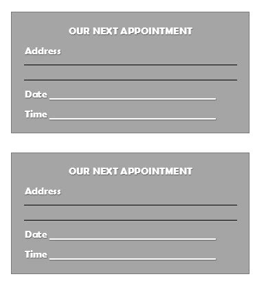 appointment slip templates   printable templates