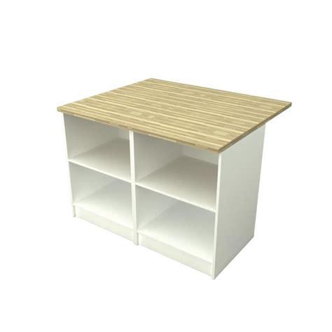 cdiscount cuisine en bois smart ilot de cuisine l 120x100 cm avec plan de travail