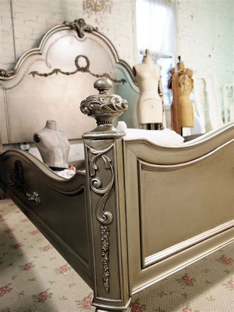 silver painted furniture shabby chic painted cottage chic shabby silver slipper king by paintedcottages fun furnishings pinterest