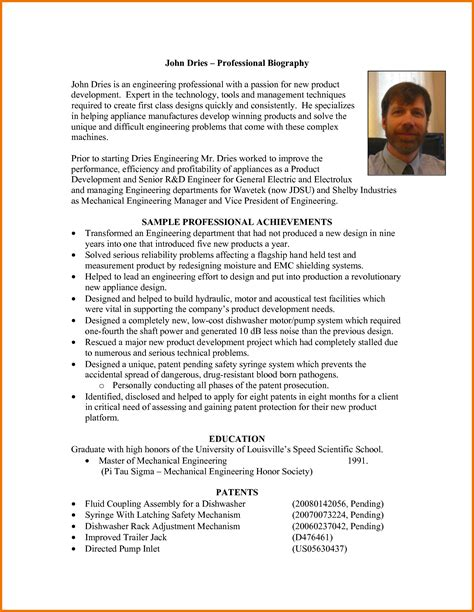 professional biography template gallery of chef biography templates
