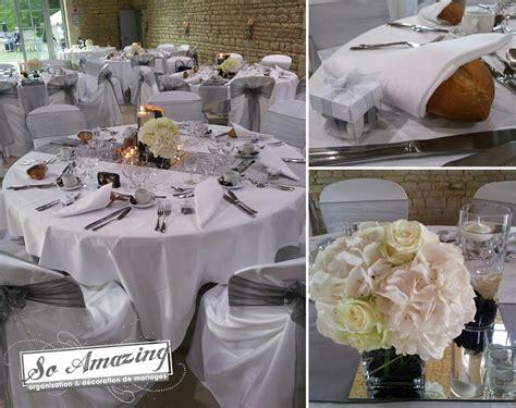 decoration table mariage gris et blanc