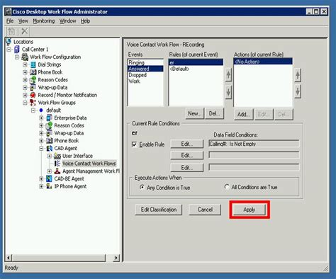 recording cisco apply configure cad agents automatic need select stop util dropped option action event under
