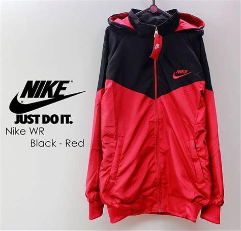 jual jaket parasut nike hitam list merah jacket hoodie zipper running parasit windbreaker