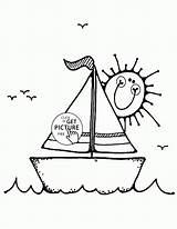 Coloring Sailboat Pages Boat Transportation Printables Wuppsy Boats Colouring Cartoon Printable Ship Sailboats Books Tags Template sketch template