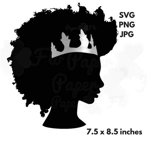 Women face set free vector. Afro svg silver crown clipart black woman svg black girl ...